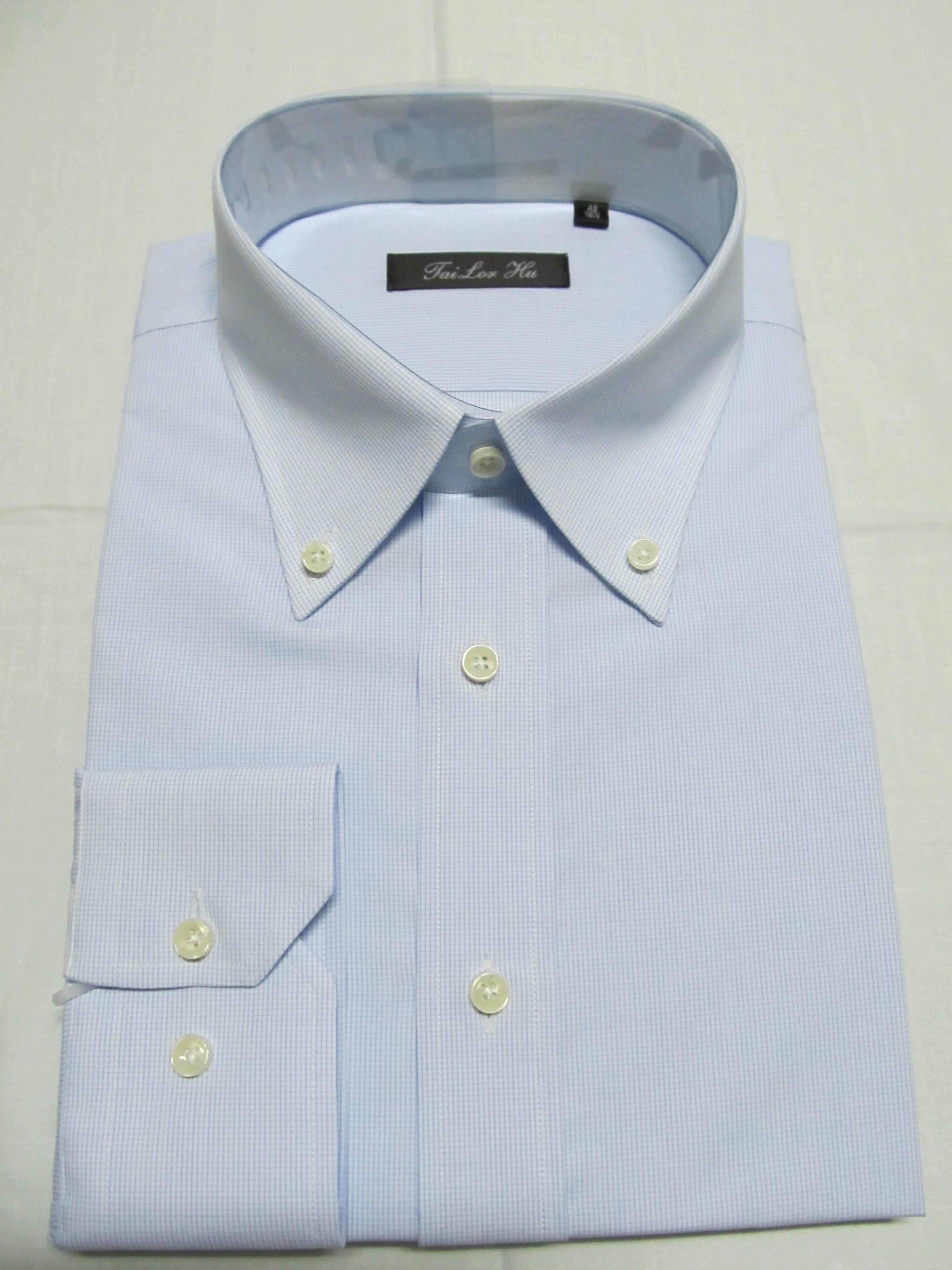 男士衬衫定做 量身定制 长袖 经典蓝色小碎格英伦风格 可绣字衬衣
