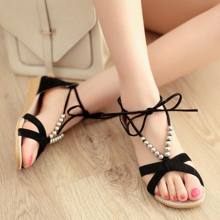 2015夏季串珠罗马风格低跟女式凉鞋 交叉绑带时尚沙滩女鞋坡跟鞋