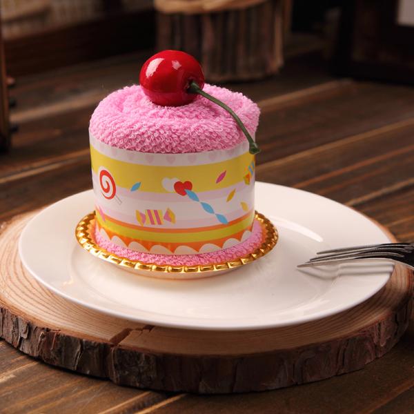 创意蛋糕毛巾 公司活动 结婚庆小礼物 生日回礼儿童节 圆筒蛋糕