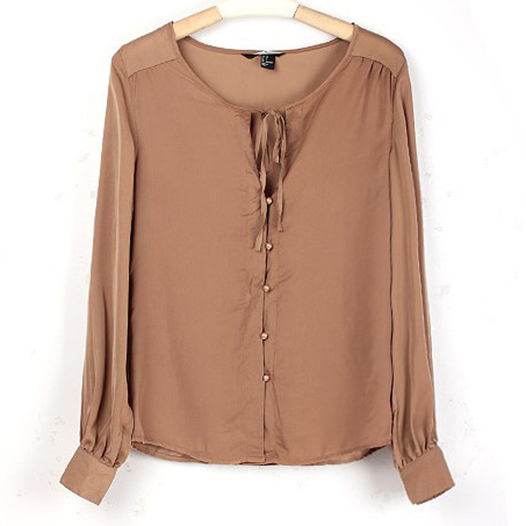2014欧美复古风 百搭英伦潮款绑带裸色咖啡衬衫衬衣女