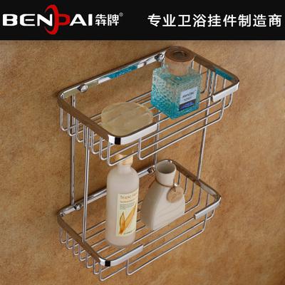 全铜实心卫浴置物架网篮双层置物架 卫生间收纳架浴室卫浴挂件