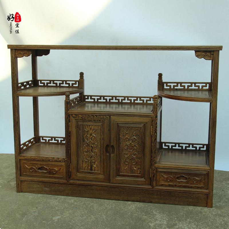 红木家具 鸡翅木茶水柜餐边柜 实木碗柜 储物柜 酒水置物角柜