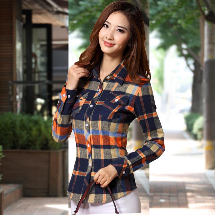 2014秋装新款女式长袖衬衫 英伦风磨毛格子衬衫韩版修身翻领衬衣