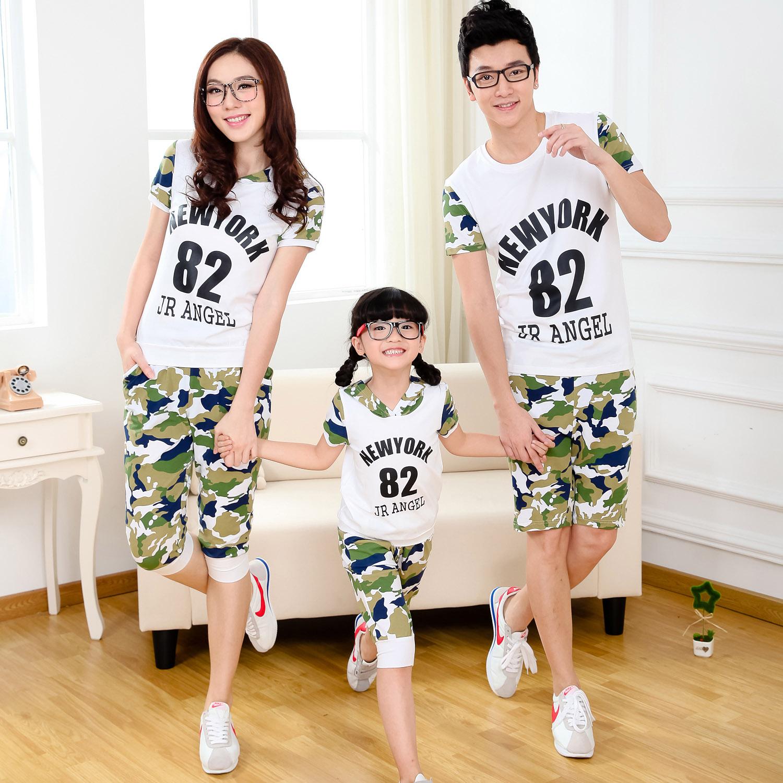 亲子装一家三口夏季迷彩母子夏装家庭装运动套装童装亲子装全家装