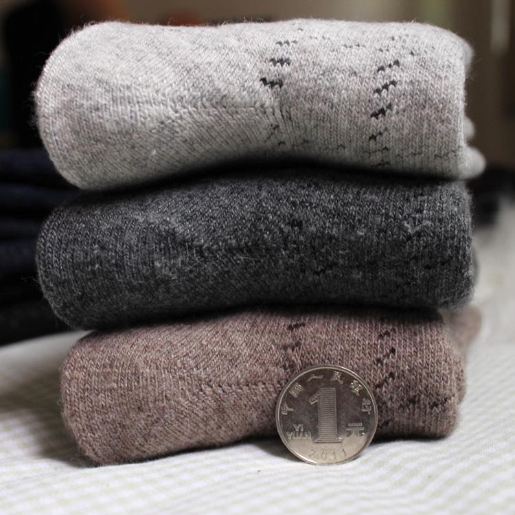 冬天男士加厚兔羊毛袜子 羊绒袜 超厚超保暖毛圈纯色毛巾中筒袜
