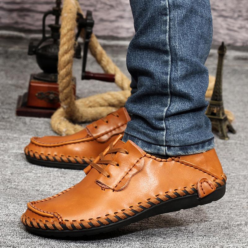 秋冬季新款正品骆驼王男士真皮鞋时尚牛皮休闲英伦韩版商务男鞋子