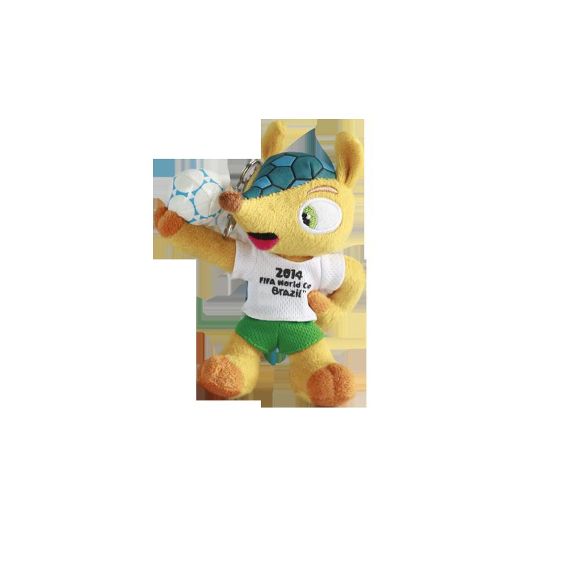 2014年巴西世界杯吉祥物13cm带钥匙扣公仔福来哥毛绒玩具纪念品