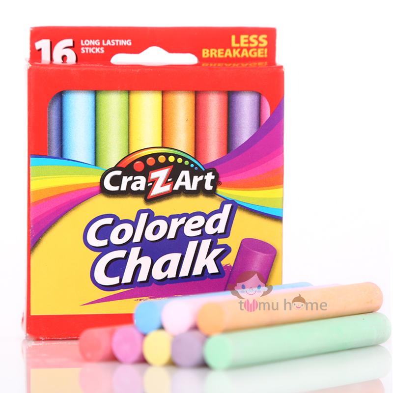 正品美国Cra-Z-Art彩色粉笔 无毒环保 16支装8色微尘儿童无尘粉笔