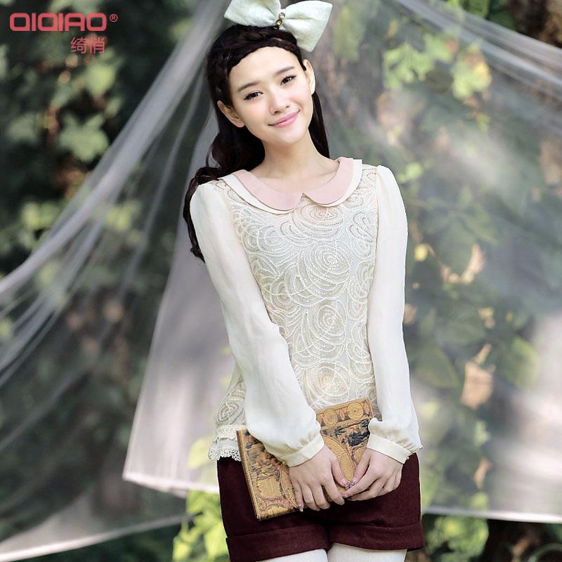 2014夏季新款甜美娃娃领长袖 雪纺衫防晒女装纯色修身显瘦蕾丝衫