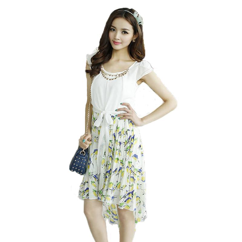 2014夏季新款女装韩版气质修身显瘦短袖碎花雪纺燕尾长裙连衣裙