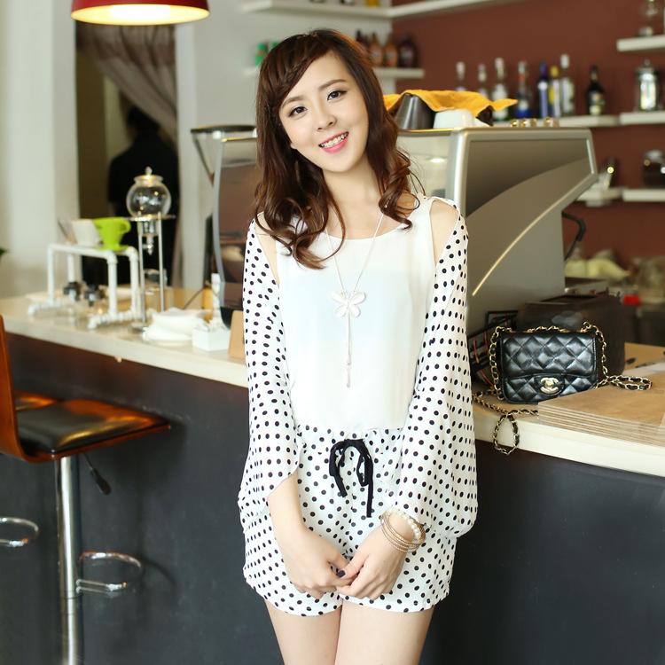 2014夏季新款韩版女装甜美 假两件波点披肩雪纺衫 短裤休闲套装