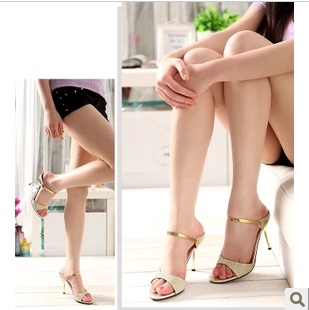 新款韩版一字带细跟拖式凉鞋性感凉鞋银黑色性感女鞋小码33码