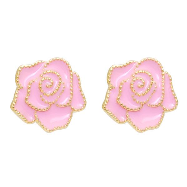 热销饰品韩国新款玫瑰多色耳环滴油耳环耳钉软垫无耳洞耳夹包邮女