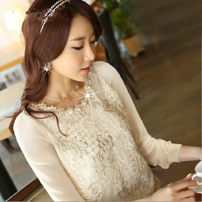 衣恋衣橱2014秋装新款大码上衣长袖打底衫韩版女装修身雪纺衫