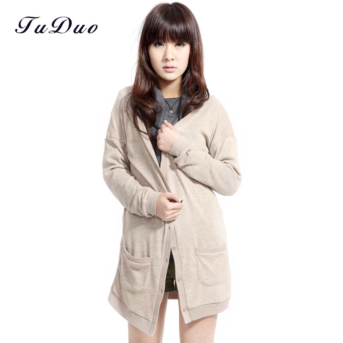 装新品女装 热卖时尚 韩版 棉质 针织毛衣 中长款开衫
