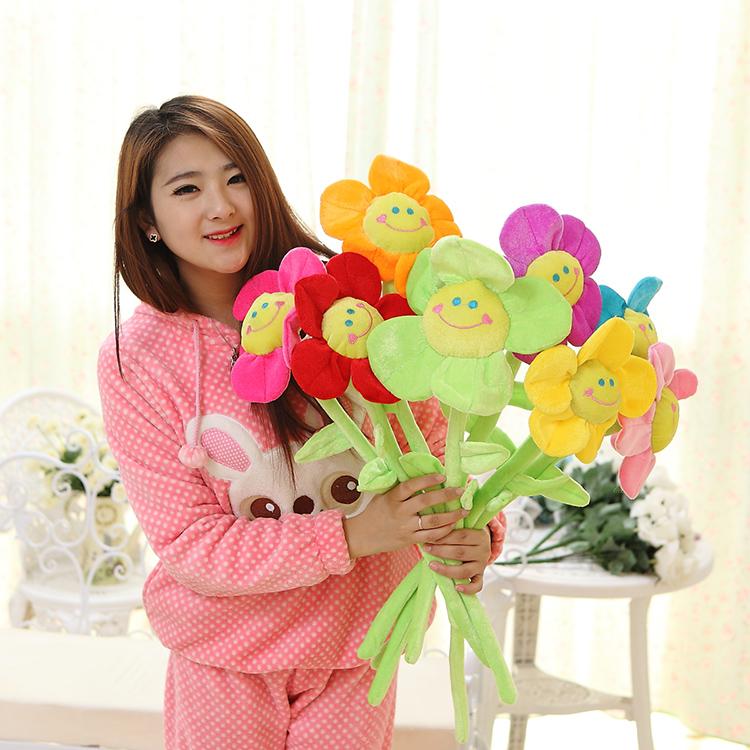 木晓璇 大号可爱太阳花窗帘扣 向日葵花朵毛绒玩具 婚庆生日礼物