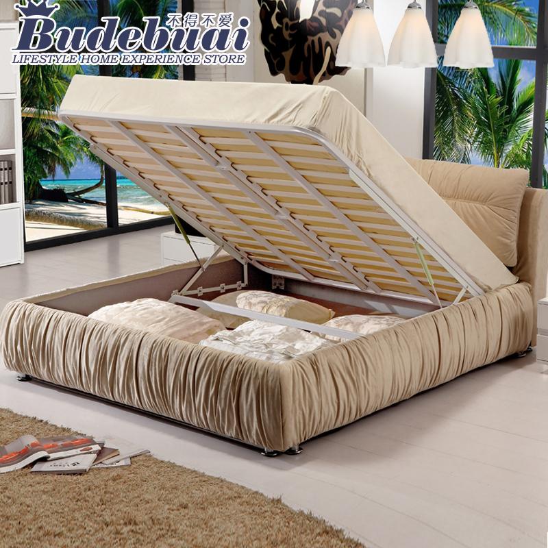 布艺床 简约现代 1.5 1.8米双人气动床可拆洗储物高箱软床婚床