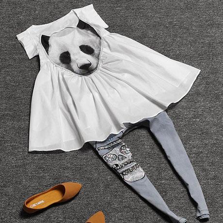 欧洲站夏新款孕妇装时尚熊猫头钉珠宽松娃娃衫长款上衣连衣裙包邮