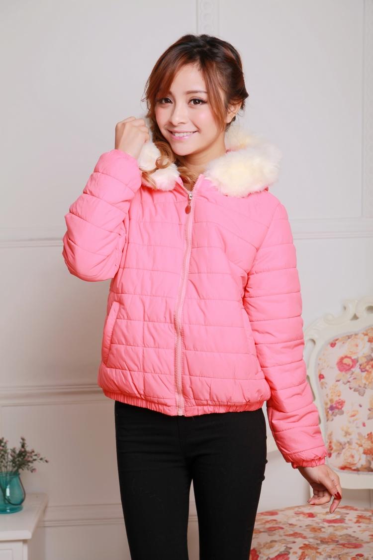 秋冬甜美新款女装 韩版时尚瑞丽百搭女士修身连帽毛领加厚棉衣