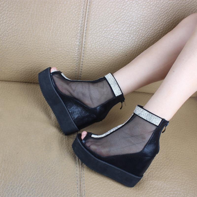 2014新款韩版高跟时尚纱网鱼嘴坡跟内增高镶钻休闲防水台女凉鞋