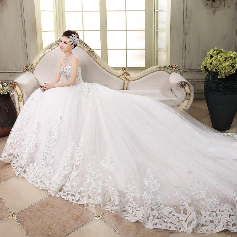 婚纱礼服 新款2014婚纱冬季款新娘抹胸大码韩式小长大拖尾1172