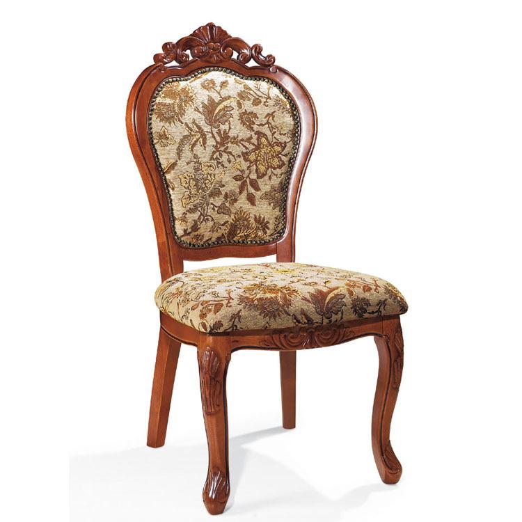 暖树家具 欧式仿古实木餐椅 酒店餐椅 橡木椅子 吃饭凳子 布艺椅