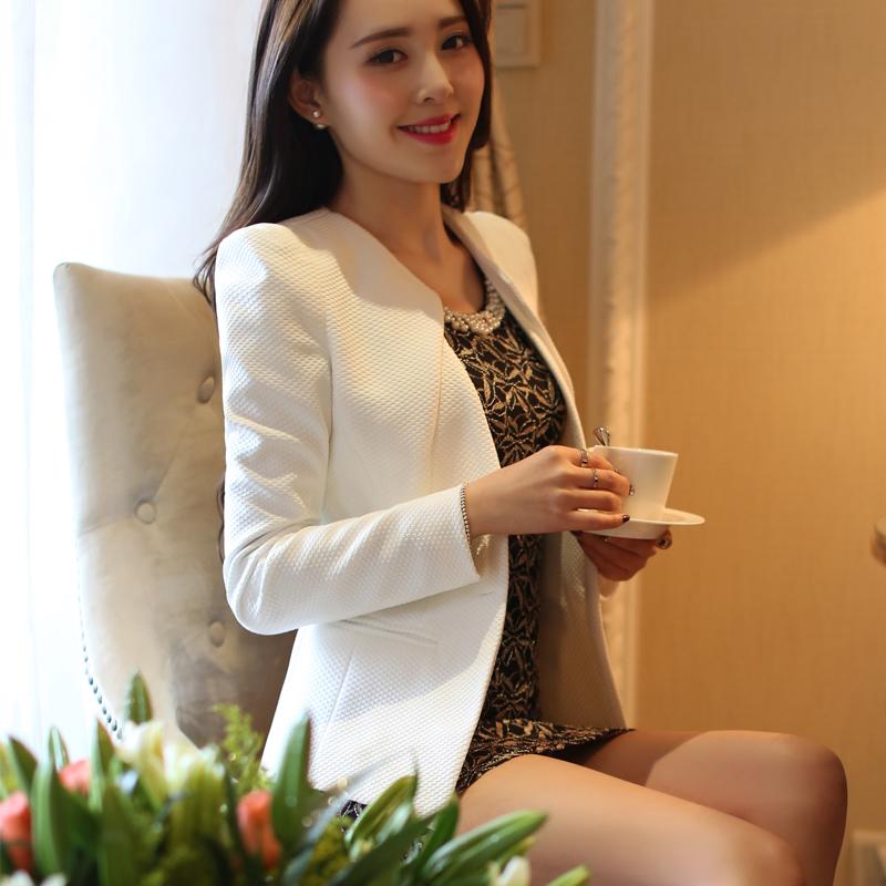 莫卡娜2015新款春装小西装女外套 短款 长袖修身小西服女装韩版潮
