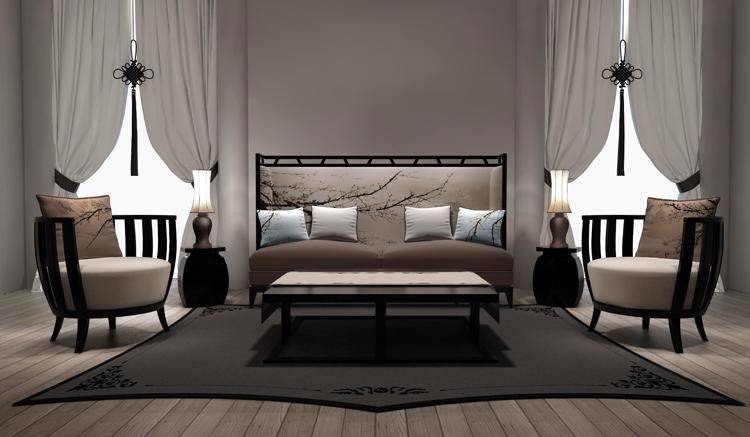 新中式沙发 咖啡厅隔断休闲沙发床酒店家具 售楼处办公多人长沙发