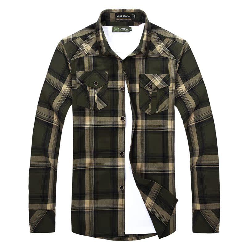 2014新款吉普战车男装大码格子长袖衬衫春秋纯棉男士衬衣休闲
