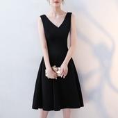 秋冬新款深V性感通勤中长款打底小黑裙连衣裙生日派对年会礼服裙