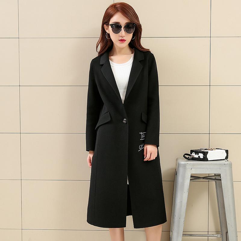 梦娜世家2016女式新款纯手工缝制韩版显瘦全羊毛双面呢大衣y626