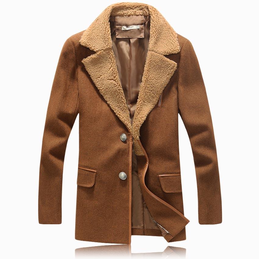 2014秋冬季新男士风衣男中长款韩版英伦修身西装领棉外套男装潮