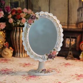 树脂梳妆镜台式欧式复古公主镜宫廷田园梳妆台镜子