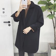 2016新款秋冬风衣男宽松日系中长款毛呢大衣青年韩版潮流呢子外套