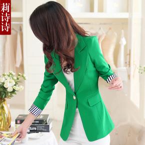 2015春夏装新款小西装女士外套韩版修身中长款休闲小西服大码女装