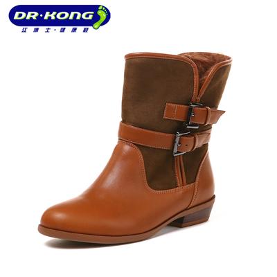 江博士秋冬季款女鞋金属扣平底粗跟中筒靴女靴W700001