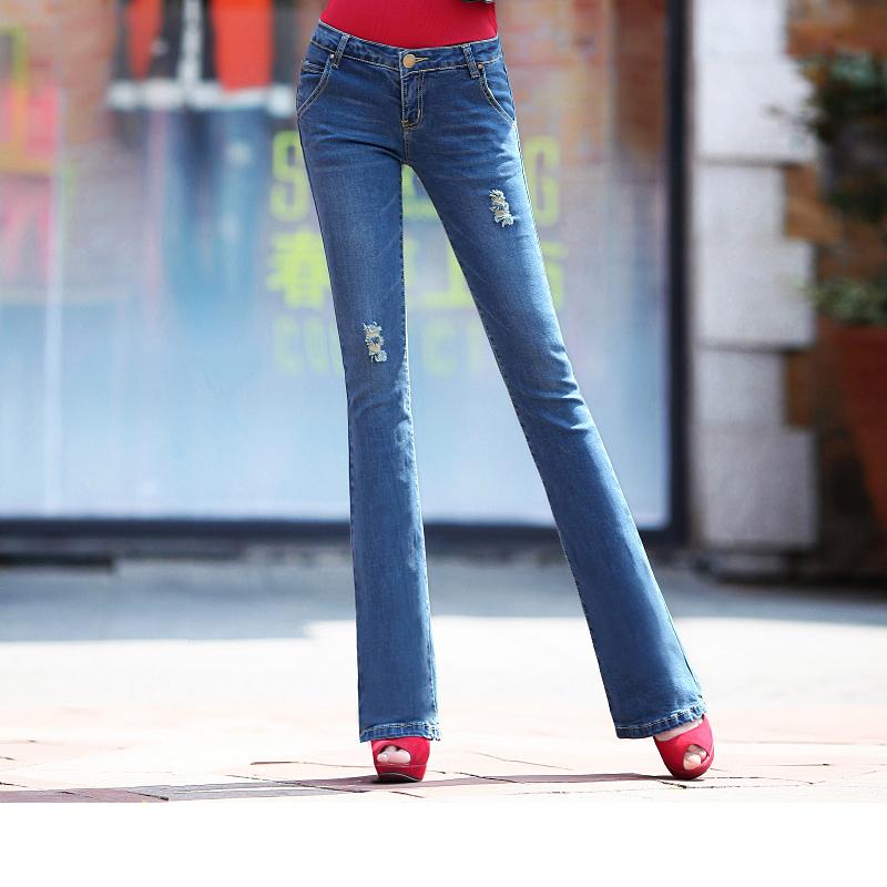 2014秋装新款微喇牛仔裤女裤显瘦修身微喇叭高腰阔腿女长裤子韩版