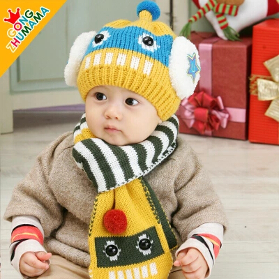 冬季宝宝帽子套头帽婴儿童帽子毛线帽围脖+围巾两件