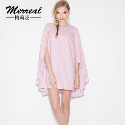 梅莉娅 2015春秋女雪纺衫蝙蝠袖假两件大码宽松气质纯色女上衣潮