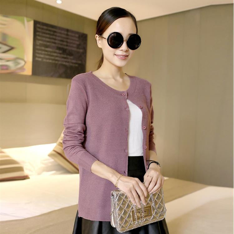 2014初秋季新款 时尚清新风格韩版女装针织开衫单排扣外套