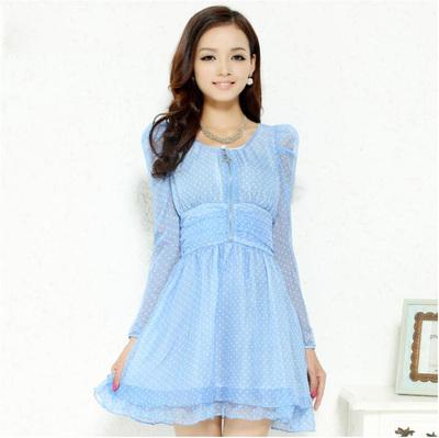 容系列  泡泡袖波点印花连衣裙品牌女装折扣