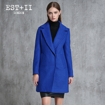 EST+II/艺诗2016秋冬新款韩版纯色毛呢外套女中长款修身V领潮