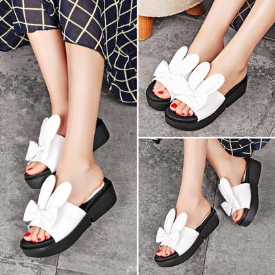 毅雅女鞋2016夏季新款头层牛皮厚底凉拖百搭纯色平底一字带女拖鞋
