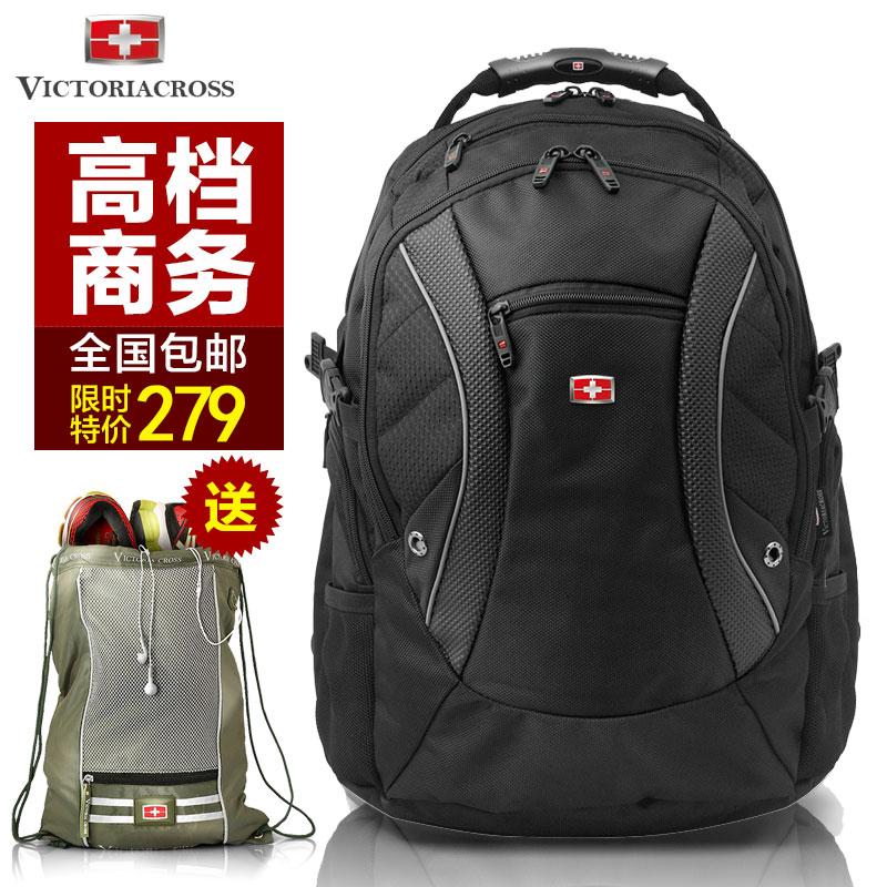 维士十字双肩包男瑞士军刀背包大容量旅行背包商务17寸电脑包包邮