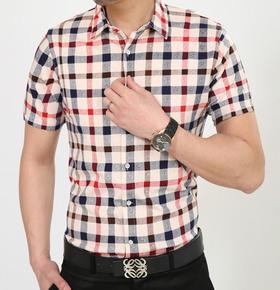 夏t恤男士衬衣短袖丝光棉半袖男装衬衫修身商务格子纯棉中年寸衫
