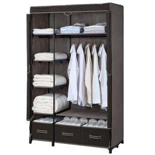 简易衣柜布艺衣柜加固加粗布衣柜单人收纳布柜三抽屉大号衣橱组装
