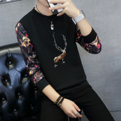 打底衫 学生潮流外套上衣服 潮男春装 长袖 修身 t恤青年卫衣韩版 男士