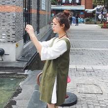 韩版春秋V领中长款牛仔背带裙纯棉五分袖t恤两件套学生连衣裙套装