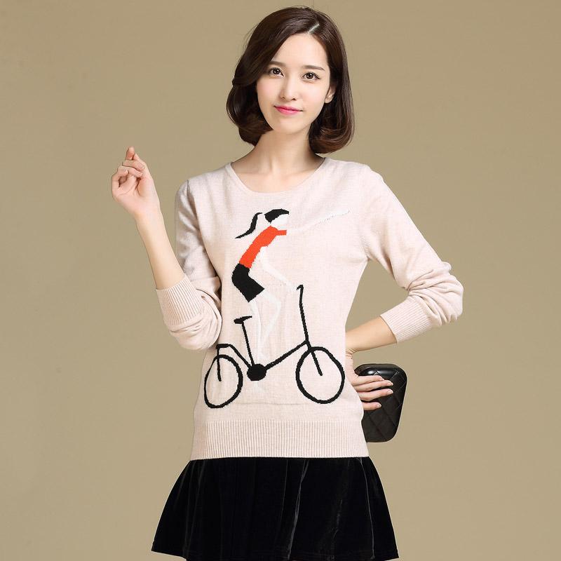 秋冬法式红色休闲卡通自行车运动少女羊绒圆领套头毛衣针织衫