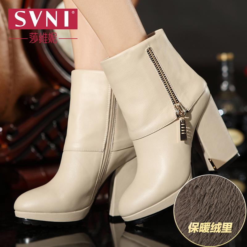 莎维妮2014冬新款女鞋时尚真皮高跟女靴粗跟绒里短靴马丁靴女